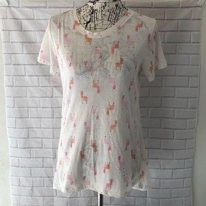 Zoe + Liv lhama print tee shirt top